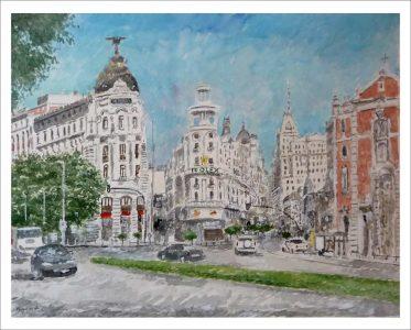 Cuadro en acuarela del edificio Metropolis de Madrid