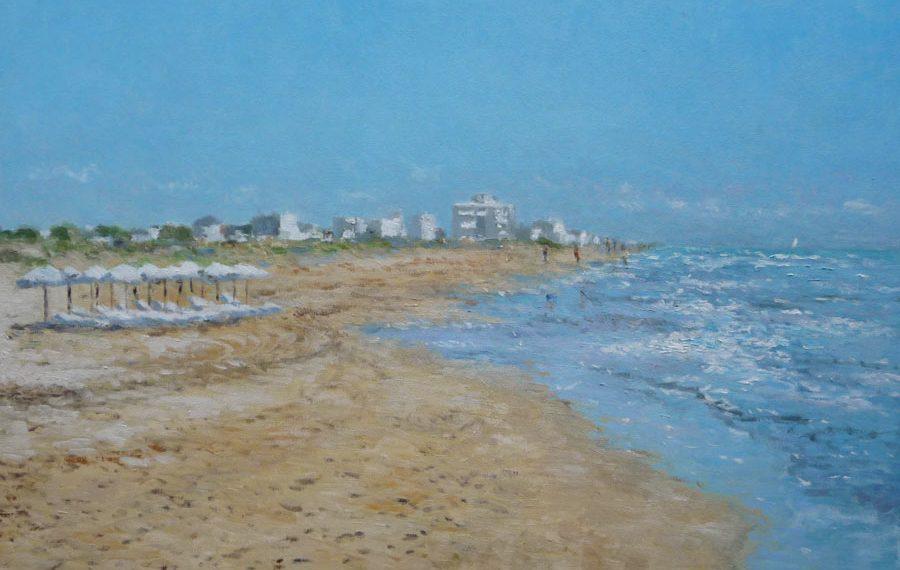 Cuadro al oleo de la playa de Guardamar del Segura