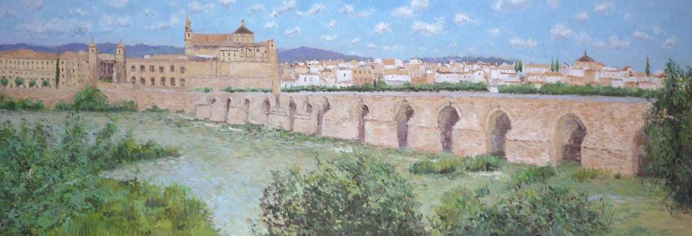 Cuadro al oleo del puente romano de Córdoba