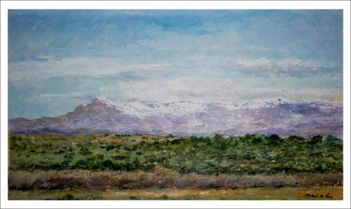 Acuarela de un paisaje de la Sierra de Guadarrama