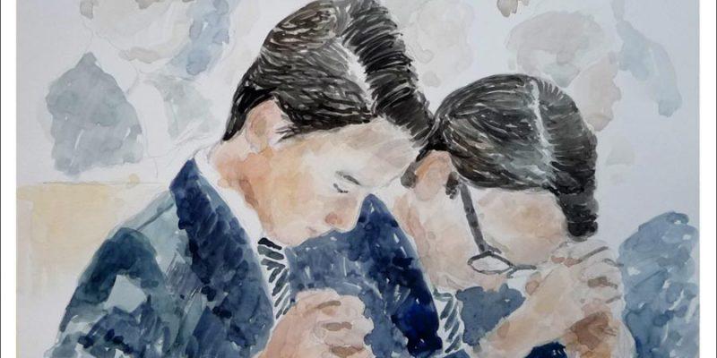 Retrato en acuarela de dos niños en su primera Comunión