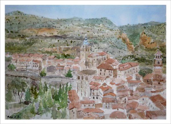 Albarracín, Teruel. Acuarela de Rubén de Luis
