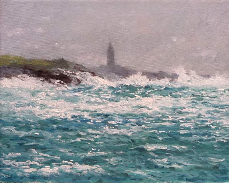 Cuadro al oleo de la Torre de Hércules con temporal marítimo