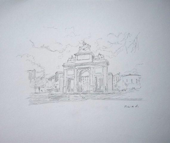 Dibujo de la Puerta de Toledo de Madrid