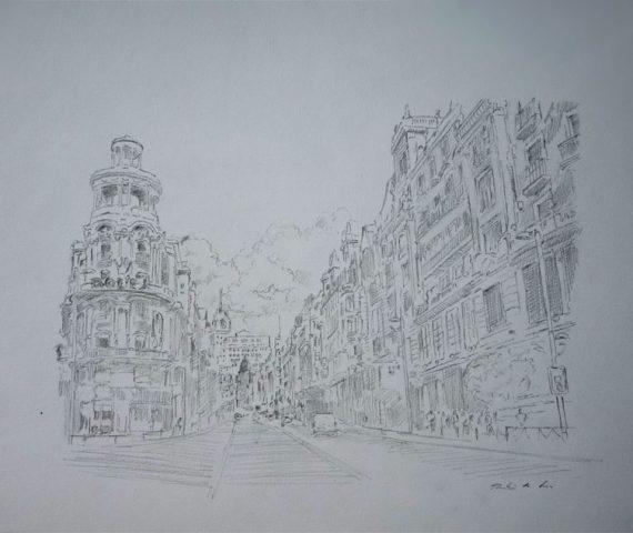 Dibujo de la Gran Vía de Madrid