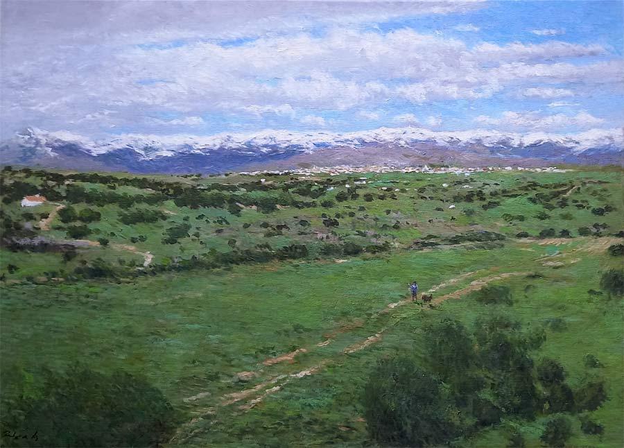 Cuadro al oleo de un paisaje de la Sierra de Guadarrama en Madrid