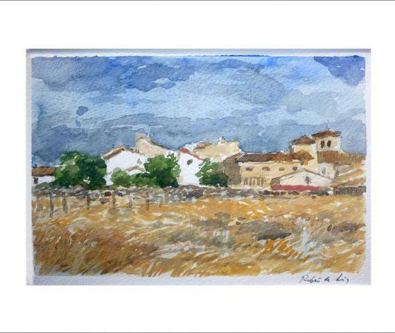 Acuarela de un paisaje de Losana de Pirón, Segovia