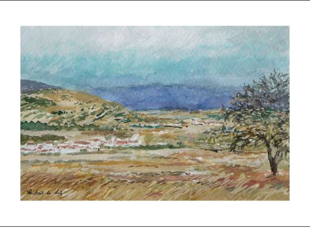 Acuarela de un paisaje de tormenta en Soria