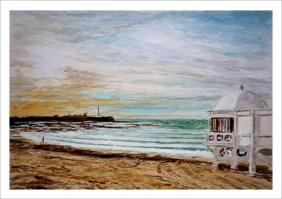 Acuarela de la playa de la Caleta en Cádiz