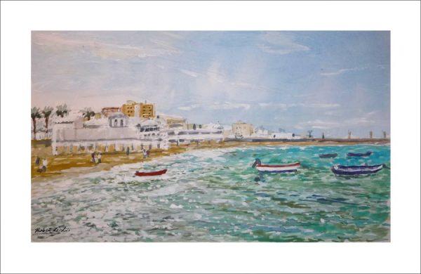 Acuarela de unas barcas en la playa de la Caleta en Cádiz.