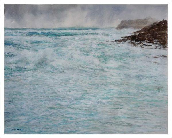 Acuarela de una marina del Mar Cantábrico