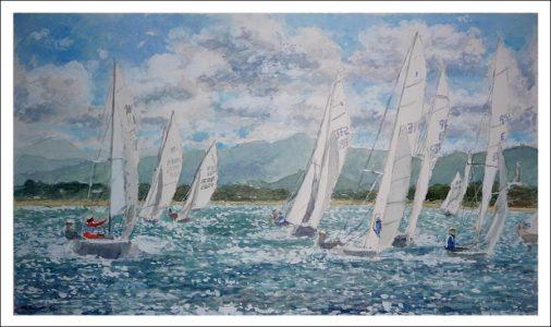 Acuarela de unos veleros en la bahía de Santander