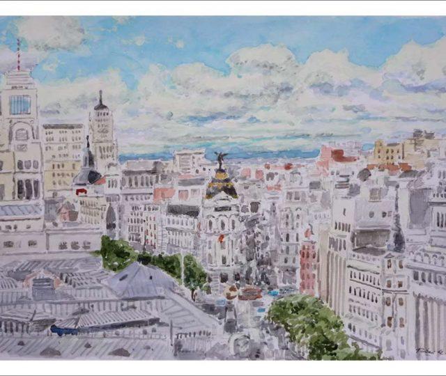 Acuarela de la Gran Vía y la calle de Alcalá desde el Palacio de Cibeles