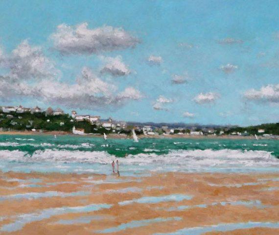 Cuadro al oleo de un paisaje de Santander desde la playa del Puntal en Somo