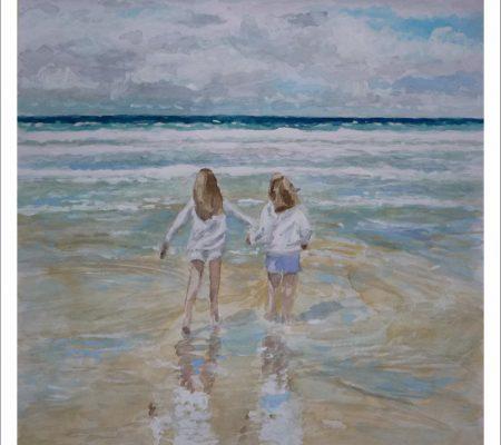 Acuarela de unas niñas en la playa pintado por encargo