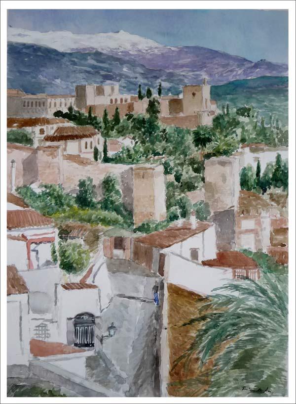 Acuarela de la Alhambra de Granada desde el barrio del Albaicín