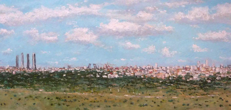 Cuadro al oleo de un paisaje de Madrid