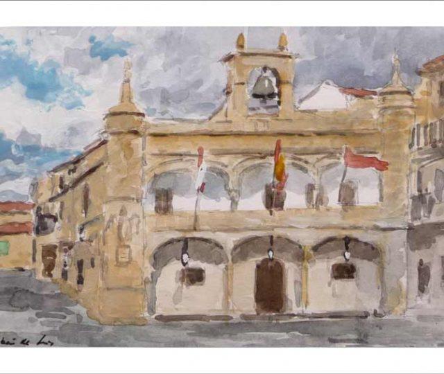 Acuarela de Ciudad Rodrigo en Salamanca