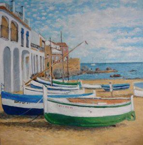 Cuadro al oleo | Barcas en la playa de Port Bo, Calella de Palafrugell