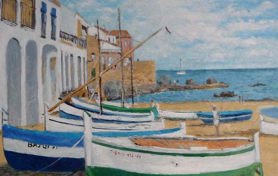 Cuadro al oleo de la playa de Port Bo en Calella de Palafrugell