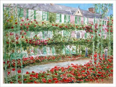 Acuarela de la casa de Claude Monet en Giverny