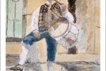 Acuarela de un charro de Salamanca con flauta y tamboril