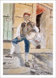 Acuarela de un charro salmantino tocando la flauta y el tamboril