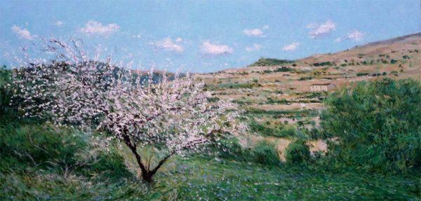 Oleo de un almendro en flor en primavera