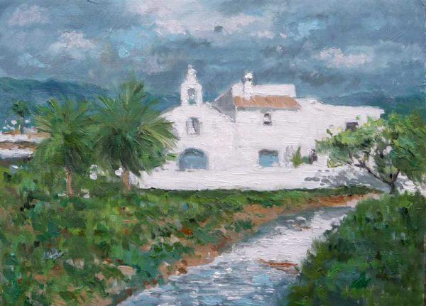 Oleo de un paisajes de la iglesia de San Francesc de s'Estany en Ibiza