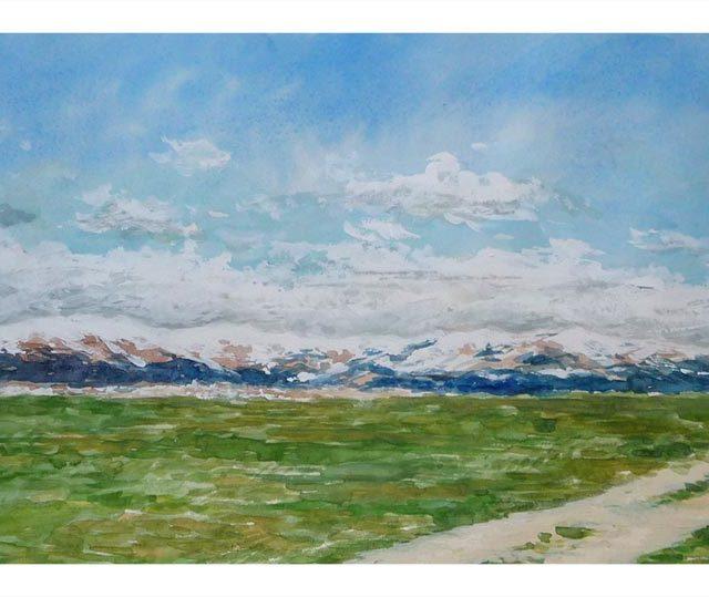 Acuarela de un paisaje de la Sierra de Guadarrama pintado por Rubén de Luis