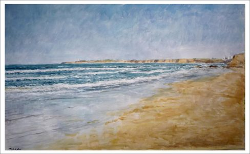 Acuarela de una playa en Conil de la Frontera, Cádiz