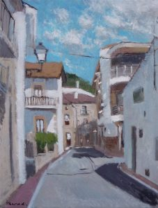 Oleo de una calle de Miraflores de la Sierra, Madrid