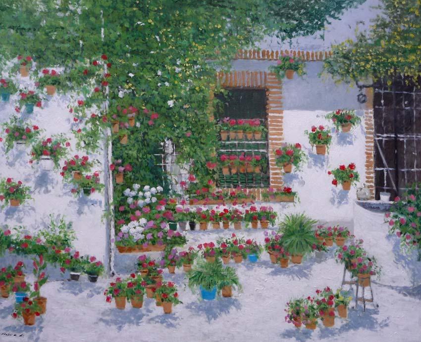 Cuadro al oleo de un patio con flores en primavera