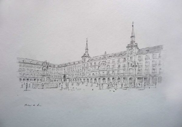 Dibujo de la Plaza Mayor de Madrid