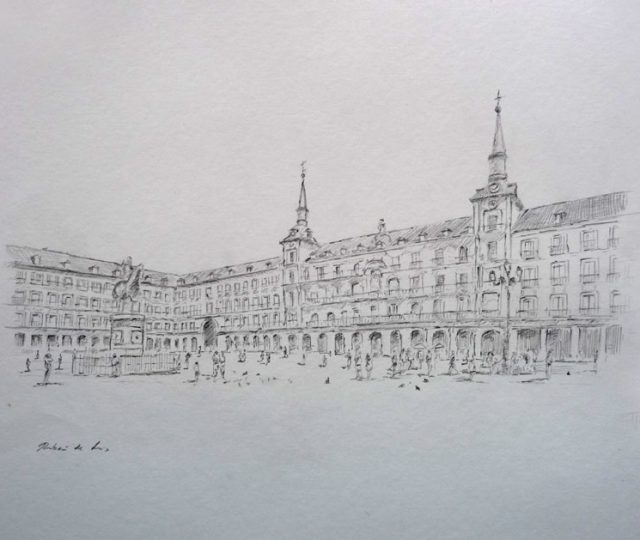 Dibujo de la Plaza Mayor de Madrid