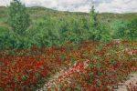 Cuadro al oleo de un paisaje con amapolas en primavera