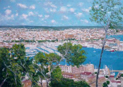 Oleo de Palma de Mallorca desde el castillo de Bellver