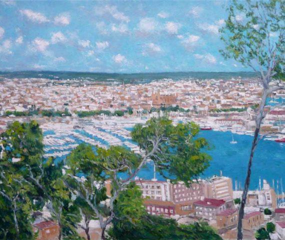 Cuadro al oleo de Palma de Mallorca desde el castillo de Bellver