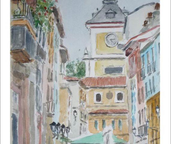 Acuarela de una calle peatonal de Oviedo