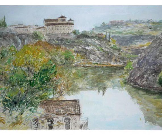 Acuarela de un paisaje de Toledo con el río Tajo.