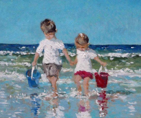 Cuadro al oleo de unos niños paseando por la orilla del mar
