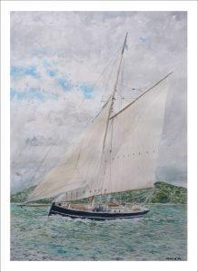 Acuarela de un velero navegando junto a la costa