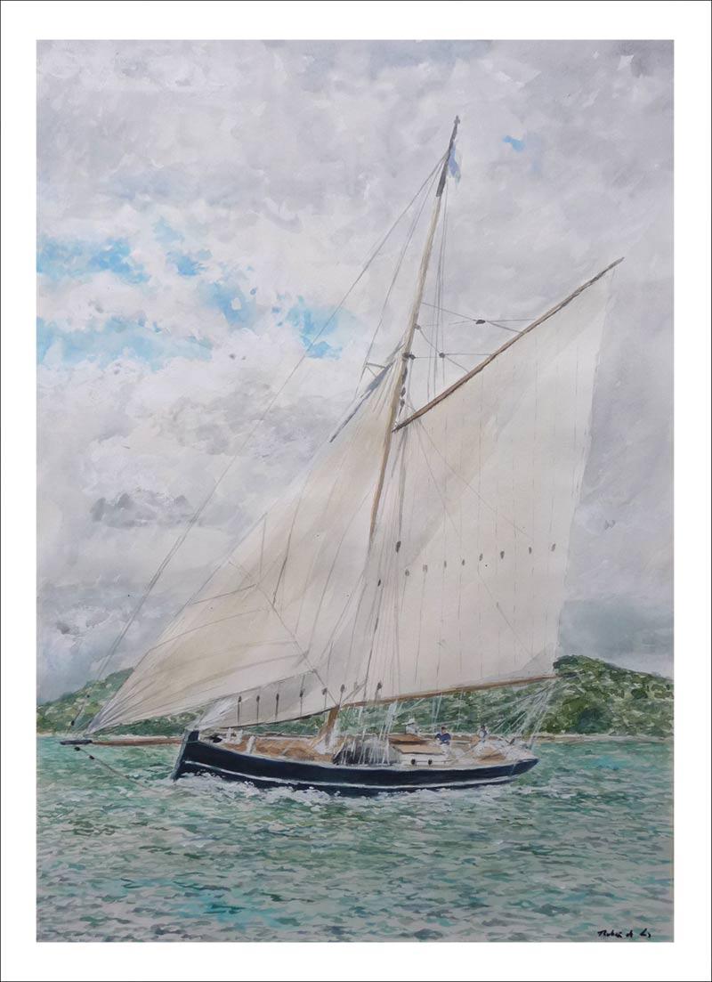 Acuarela de un velero junto a la costa