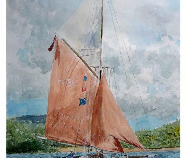 Acuarela de un velero con la vela roja