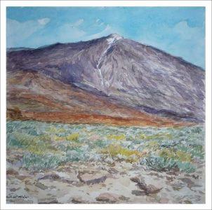 Paisaje en acuarela del Teide
