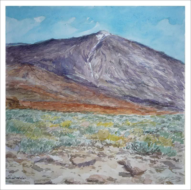 Acuarela de un paisaje del Teide
