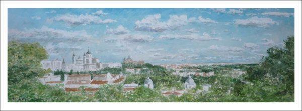 Acuarela de una panorámica de Madrid desde el Templo de Debod