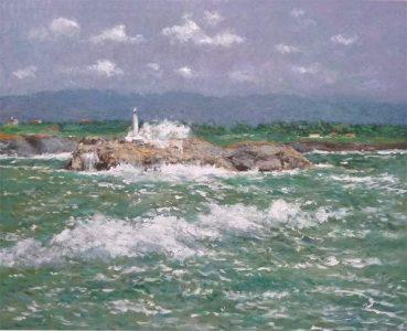 Marina al oleo de la isla de Mouro
