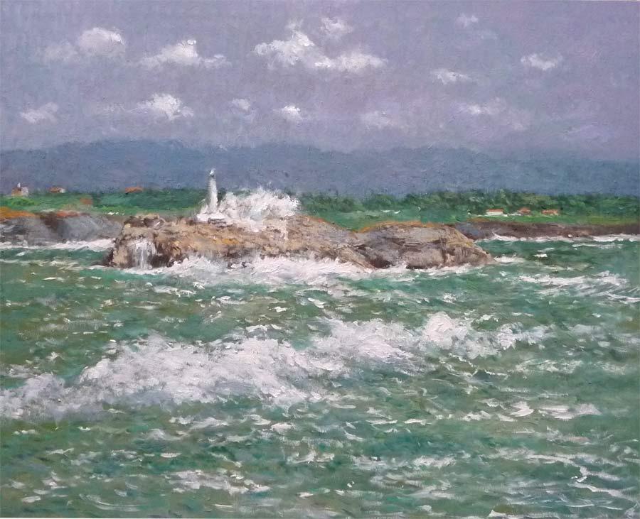 Cuadro al oleo de la isla de Mouro con la mar embravecida