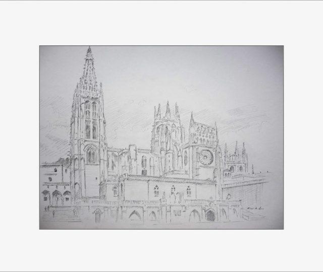 Dibujo a lápiz de grafito de la Catedral de Burgos realizado por Rubén de Luis
